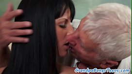 Hairy eurobabe spoon fucked by oldman