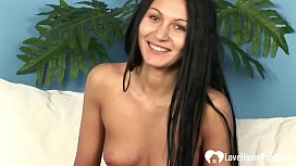 Horny babe fucked by two raging rods hard