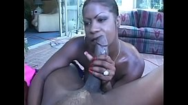 Huge black cock can hardly fit into ebony slut'_s holes