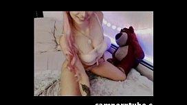Pink haired teen camgirl anal plug