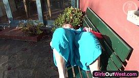 Girls Out West - Blondie masturbates on the bench