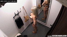 Busty Blonde Changing Bra in Store konulu porno