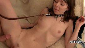 Teenie fucked in hard bondage