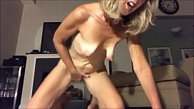 Blonde saggy tits mature dildo riding and masturbating