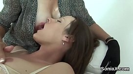 Unfaithful british mature lady sonia displays her heavy hooters