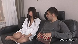 Poor man allows frisky buddy to screw his gf for hard cash