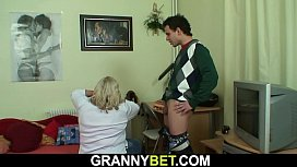 Huge old grandma tastes his cock and gets doggy-fucked