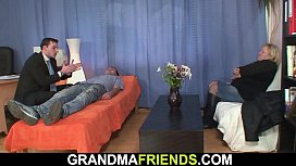 Busty hairy pussy grandma enjoy dp
