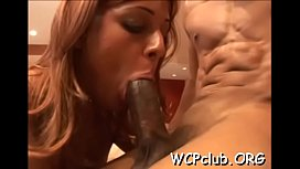 Sexual bitch feels chocolate dong entering her tight anal