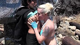 Two Hot Ghetto Big Tits Lesbians on the Rocks in Public Finger and Fist Each Others