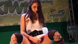 Hot teen babe striptease