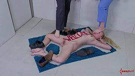 Blonde slave bitch turned into an actual doormat for shoes and feet
