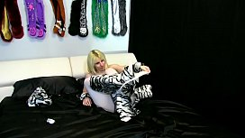 Alice in White Tiger Costume with White Cro ess Pa ose