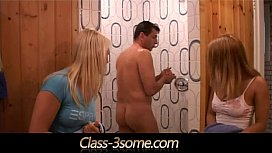 Horny blondes tease and fuck their handsome gym instructor