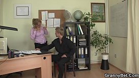 Mature boss in white stockings