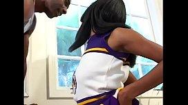Ebony cheerleader Ebony Barbie getting pounded