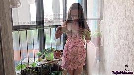 Cute Babe Masturbate Pussy and Fucking Dildo on the Balcony