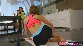 Stepmom yoga makes teen girl all horny and they go lez