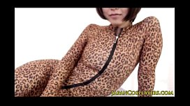 Flexible asian cosplay babe in leopard bodysuit creampied
