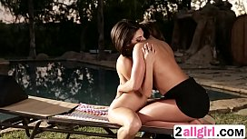 Clit massage lesson by the pool between lesbiansrae