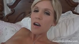 Amateur blonde milf masturbating then suckng a cock