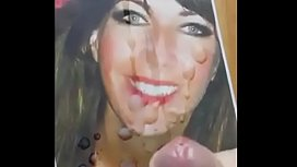Hot brunette milf gets huge facial cum tribute