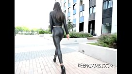 Walking boots Black leather leggings high-heeled shoes long legs sex image