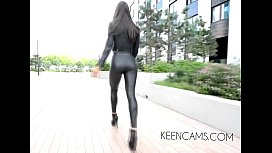 Walking boots Black leather leggings high-heeled shoes long legs xxx video