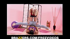 Hot & mean yoga instructor seduces her flexible blonde student