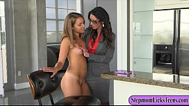 Dava Foxx and Liza Rowe nasty lesbian sex on the couch