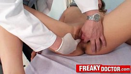 Curly blonde Kristy Lust fetish clinic speculum inspection