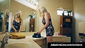 Hot Busty Milf Julia Ann Pleasures Lucky Fan'_s Hard Cock!