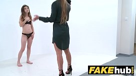 Female Agent Naked photo shoot ends in masturbation and pussy licking