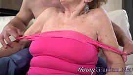 Buxom grandma sucks hard dick