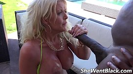 Big Tit MILF Anal Fucked by Black Cock by the Pool sissy rape