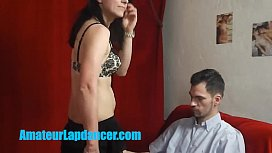 Sexy yo brunette lapdances for shy stranger