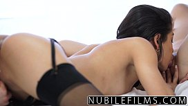 Coed slumber party with three BFFs has lesbian squirt