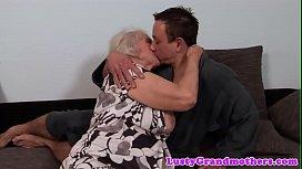 Chubby european grandma spooned passionately