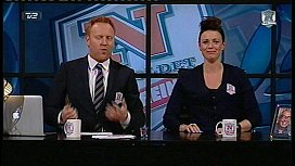 Topless serving with big boobs on Danish TV