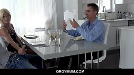 Horny Blonde Milf jerks stepson at table