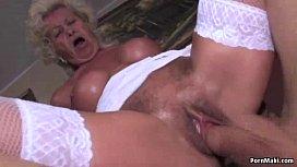 Granny screams while fucked hard sex parti