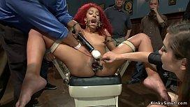Ebony slave gets toyed in public