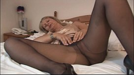 Busty mature blonde in pantyhose and slip xxx video
