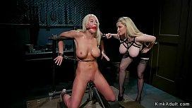 Busty blonde Milf lesbian anal fucked