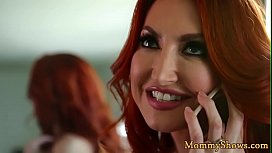 Busty redhead stepmom scissoring teen