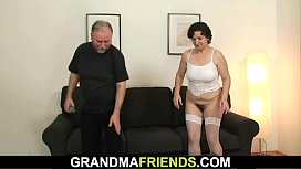 Very old hairy granny in lingerie enjoys double penetration