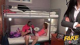 Fake Hostel Posh woman and dirty redhead teen juicy threesome