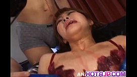 Kokoro Wakana in see through lingerie gets sex toys and cumshot