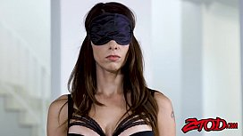 Blindfolded beauty Eva Long takes a ride on big fat dick