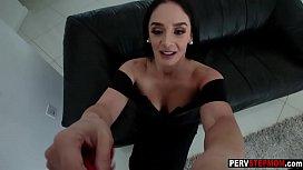 Horny MILF stepmom satisfied her stepson with big boobs